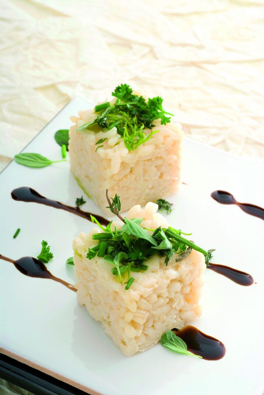 Quadrotti di Carnaroli all'aceto balsamico e crema di tartufo