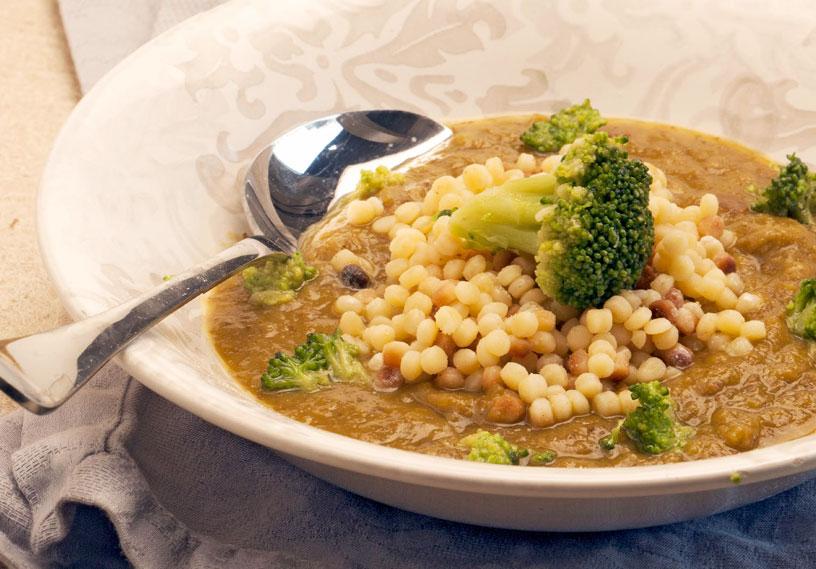 Fregola su crema di broccoli piccante