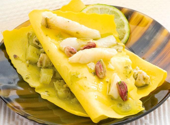 Lasagna con sogliola e pistacchi