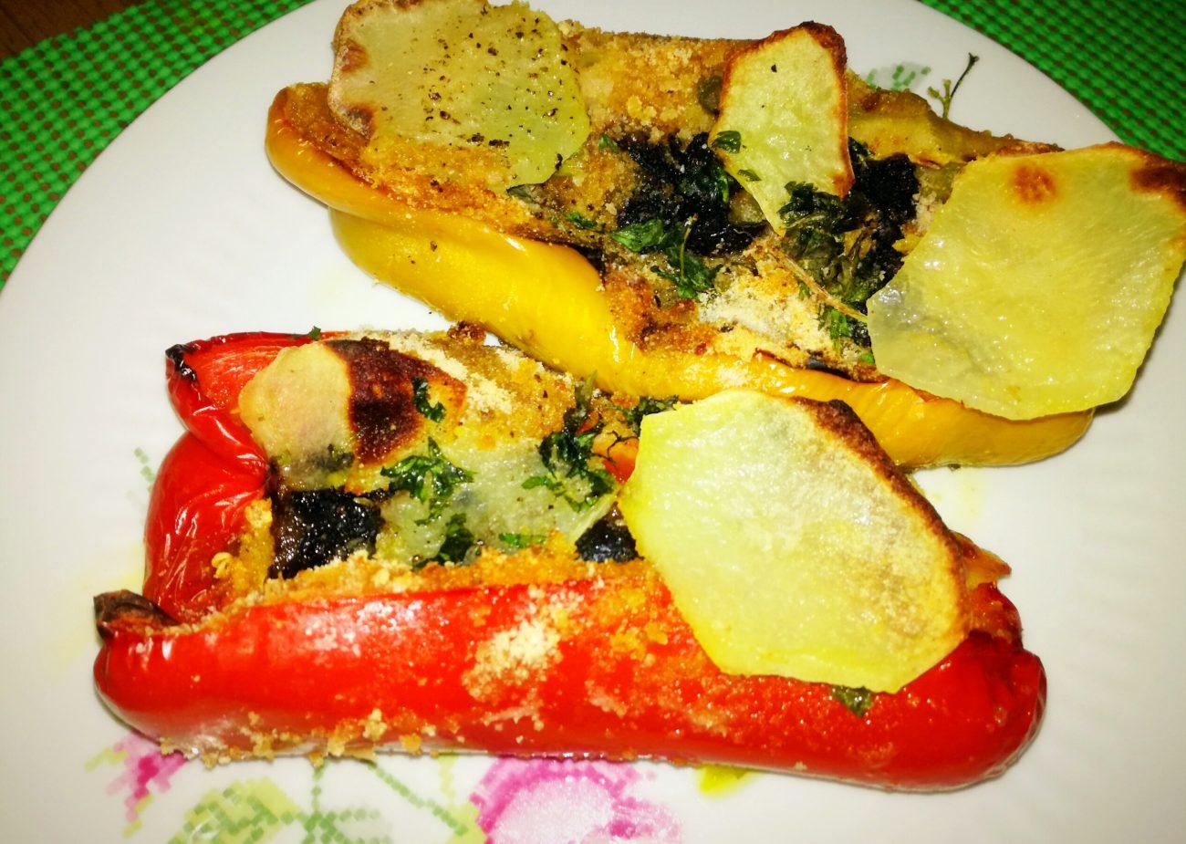 Barchette di peperoni e chips croccanti