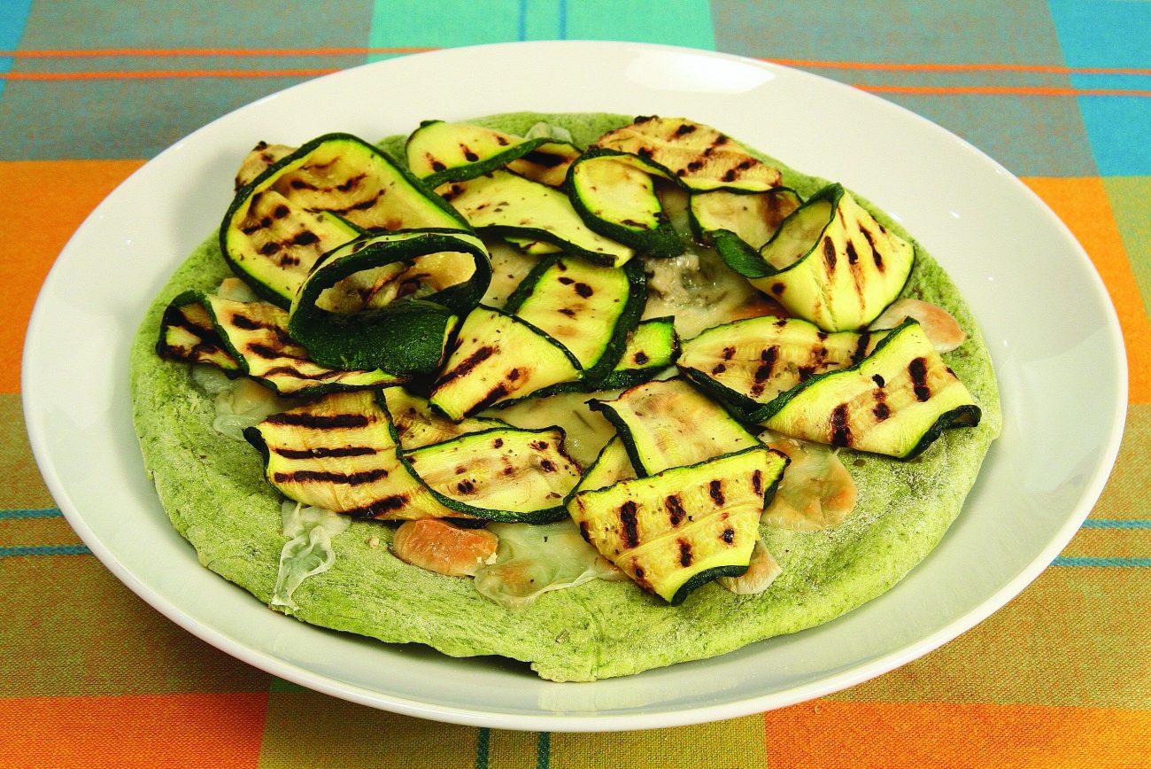 Pizza verde agli Spinaci con Zucchine e Zola