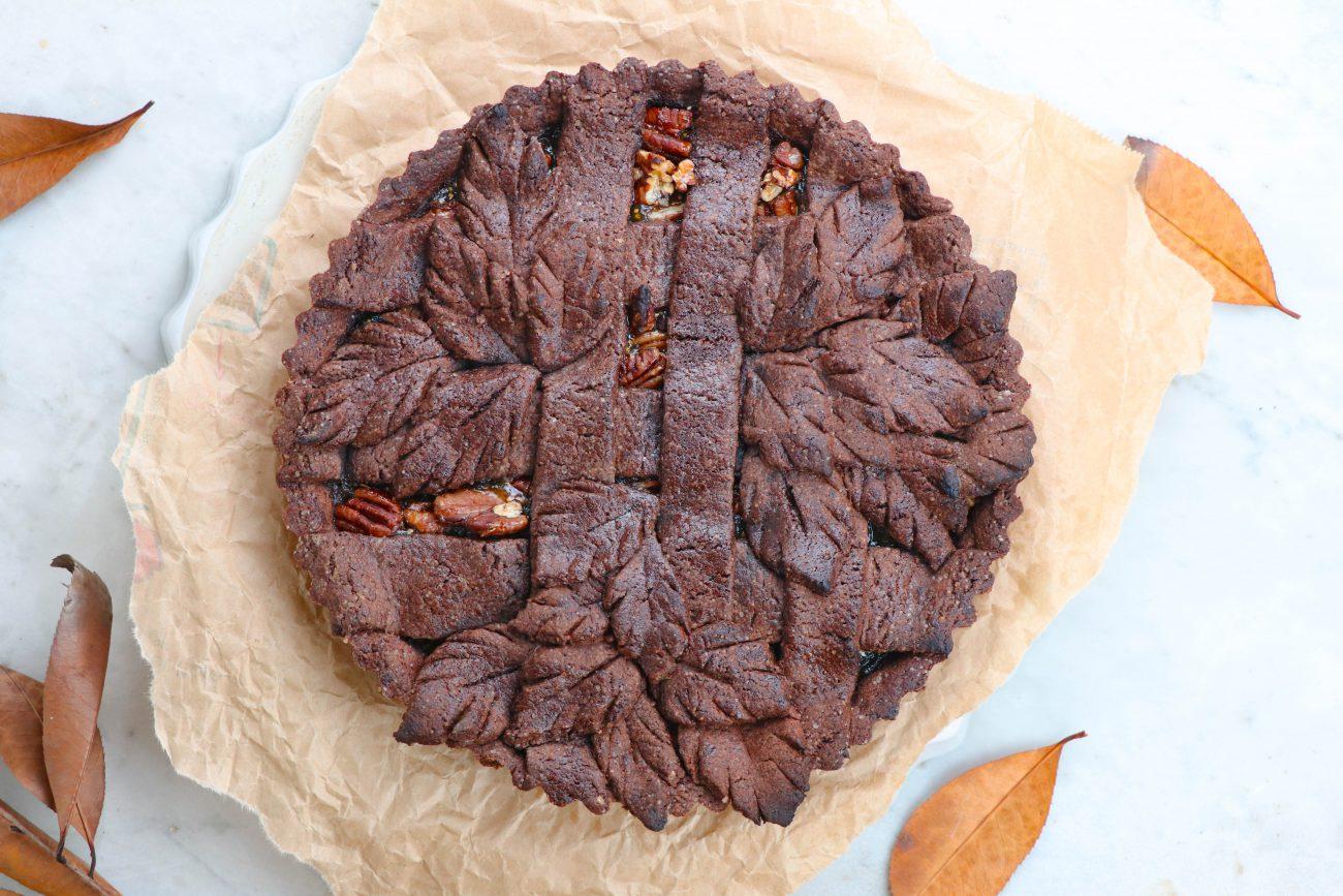 Crostata al Cacao con Fichi e Noci Pecan