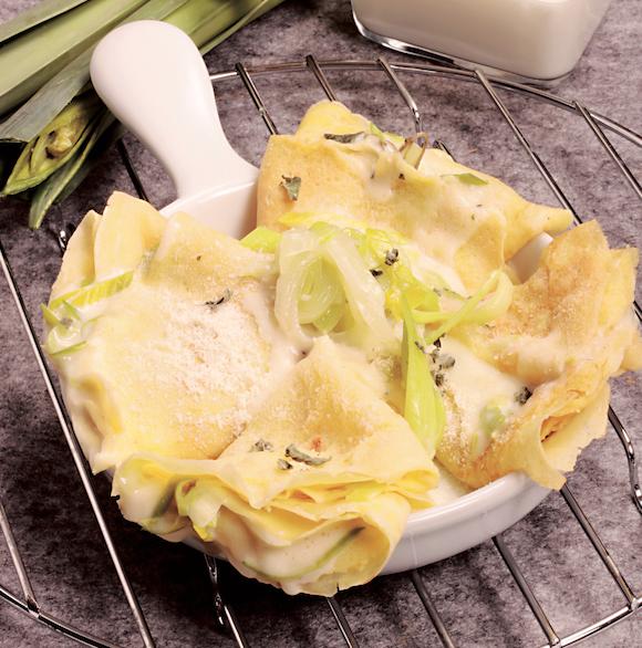 Crepes salate con porri e yogurt