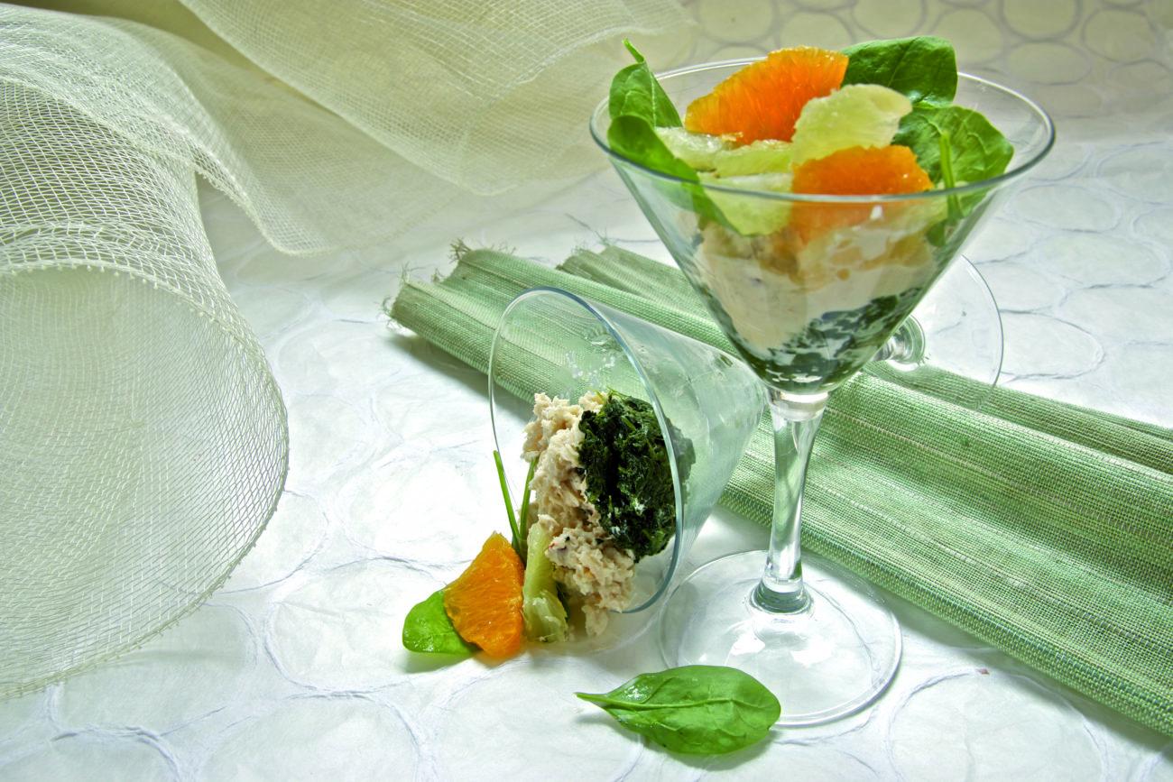 Coppa di spinaci e granchio