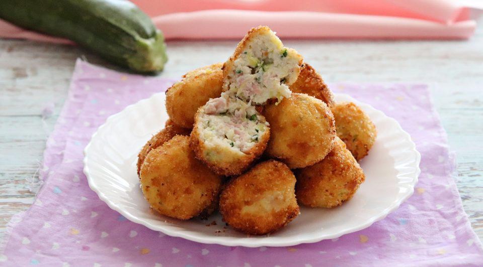 Polpette con zucchine e prosciutto cotto
