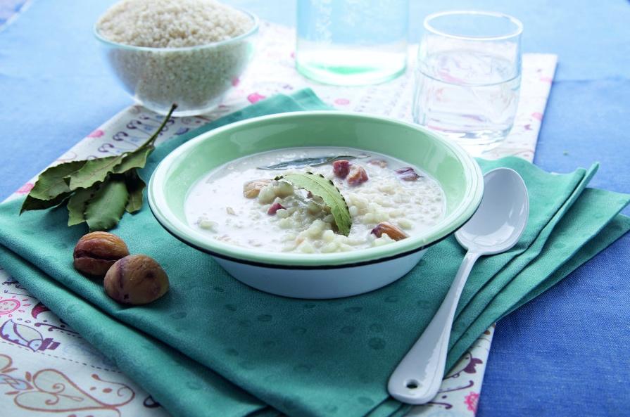 Minestra di riso, latte e castagne