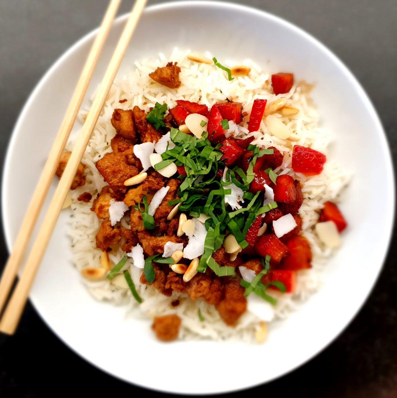 Riso con Tofu, Fragole e Cocco