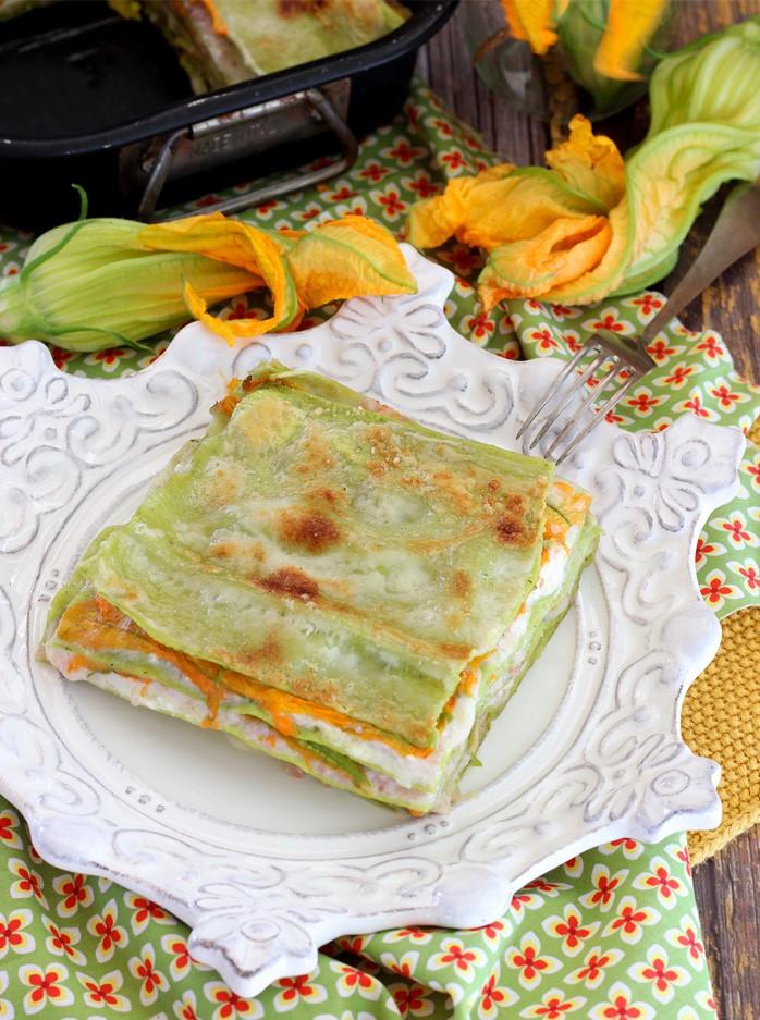Lasagne ai Fiori di Zucca con Prosciutto e Burrata